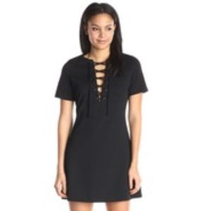 Lucca Couture Lace Up Shift Dress in Black